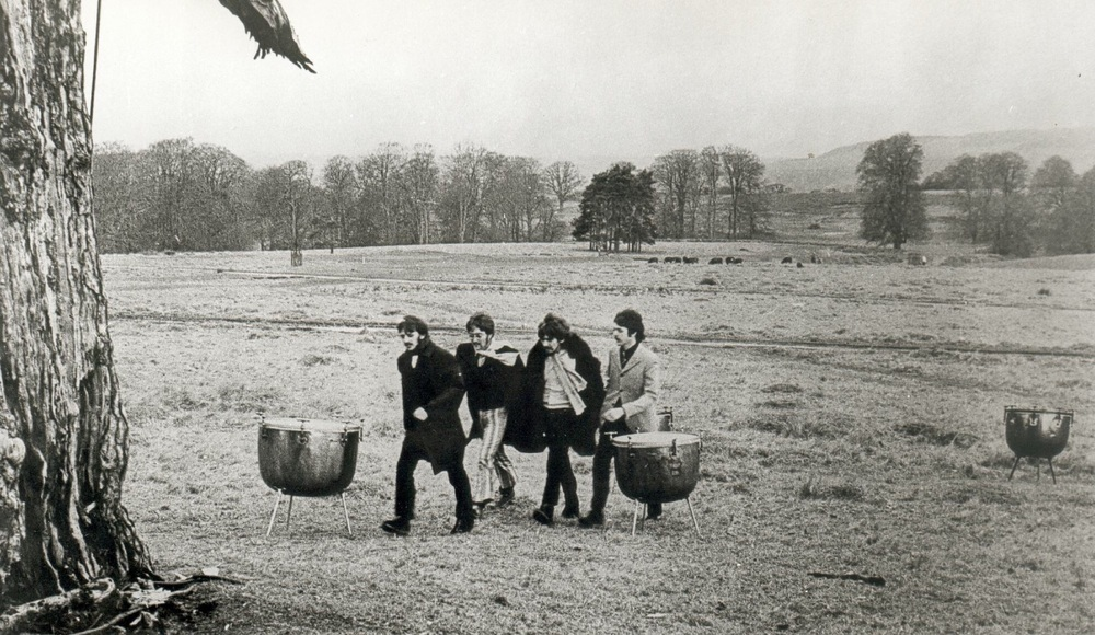 The Beatles filming a promo video for Strawberry Fields Forever, January 1967.