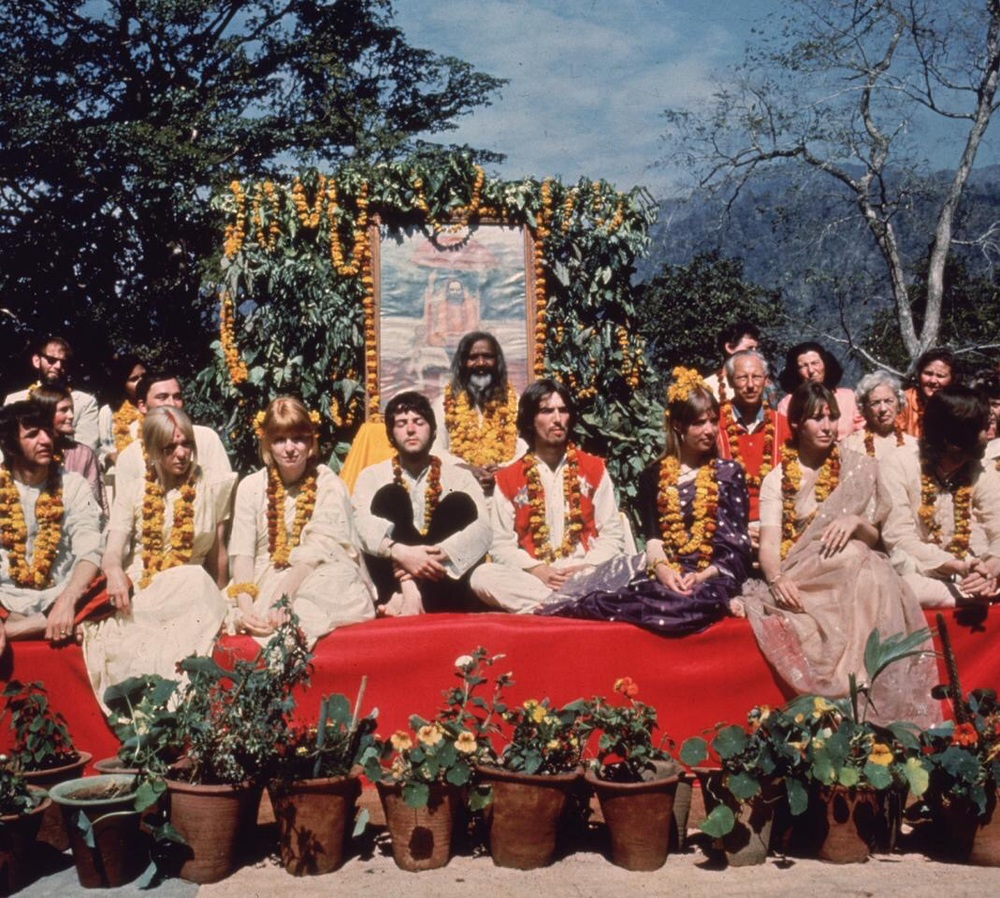The Beatles with Maharishi Mahesh Yogi in India, 1968.