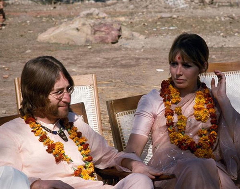 John and Cynthia Lennon in India, 1968.