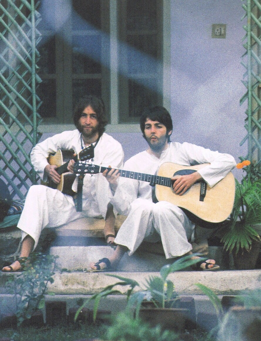 John Lennon and Paul McCartney jamming in India, 1968.