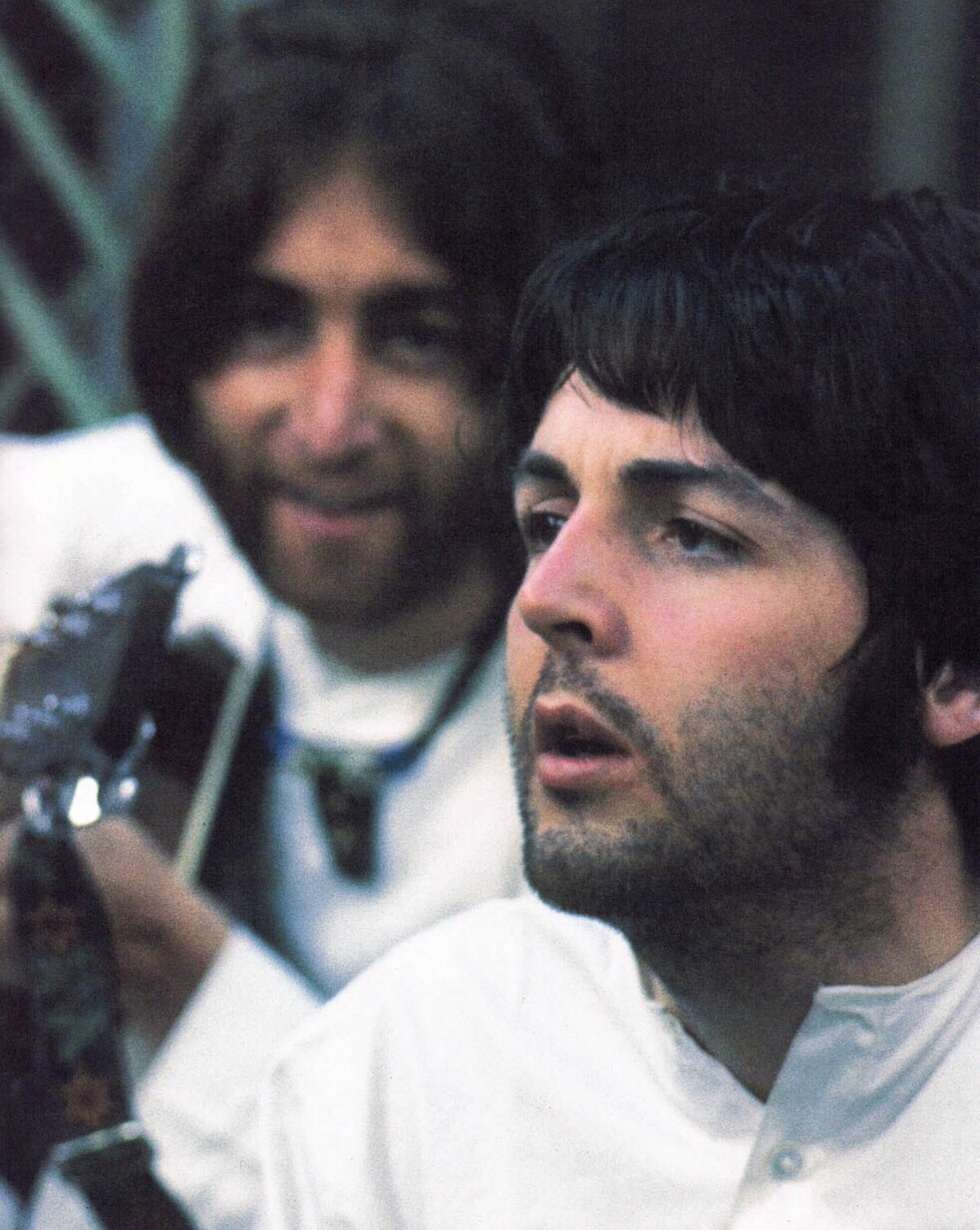 John Lennon and Paul McCartney jamming in India, 1968.