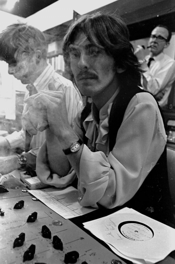 George Harrison at a White Album session, 1968.