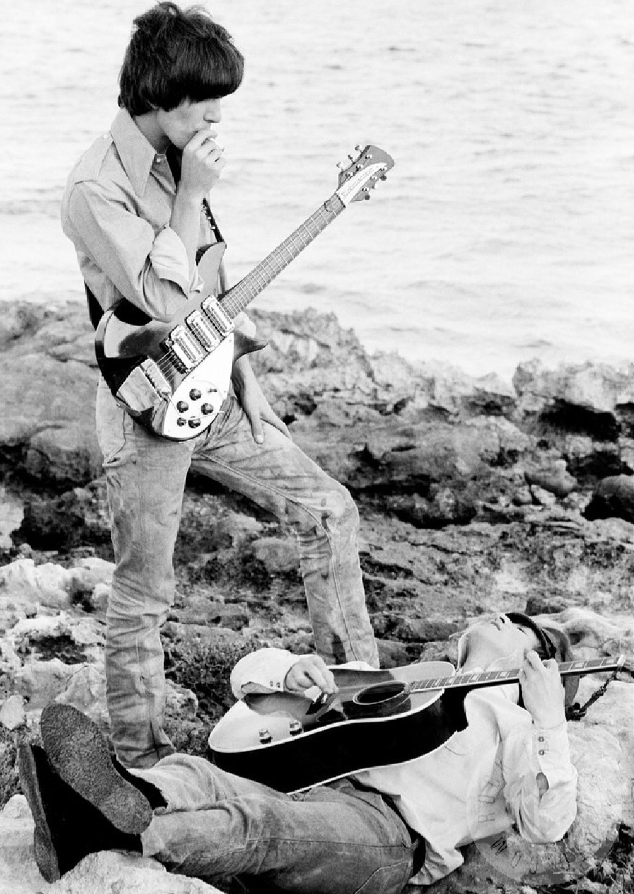 John Lennon and George Harrison  on the set of Help! in the Bahamas, 1965.