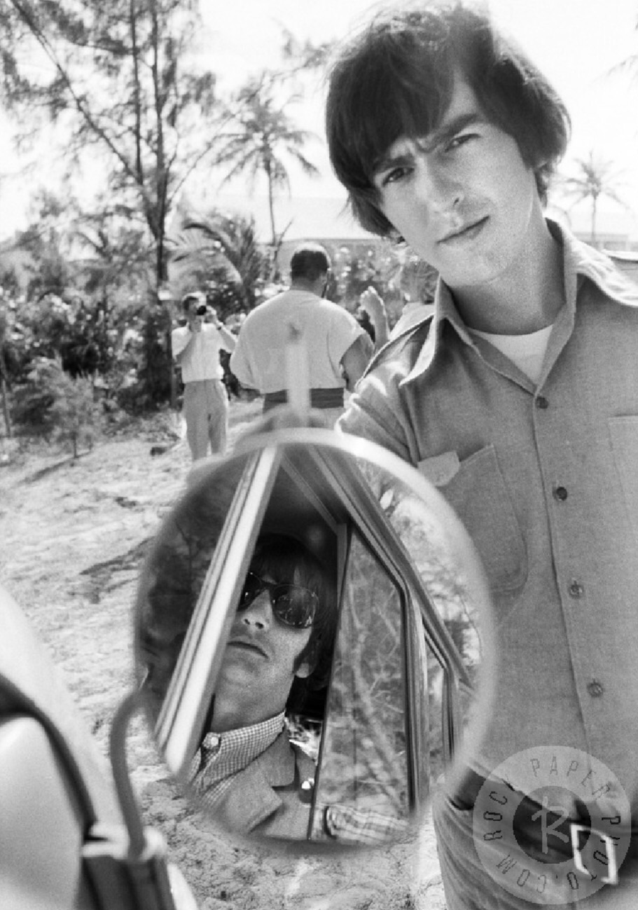 George Harrison and Ringo Starr on the set of Help! in the Bahamas, 1965.