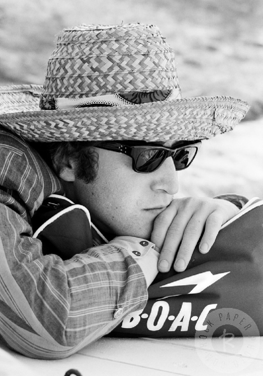 I'm so tired. John Lennon  on the set of Help! in the Bahamas, 1965.