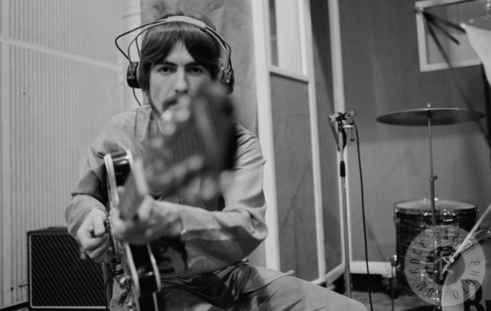 George Harrison recording Lucy in the Sky with Diamonds, 1967.