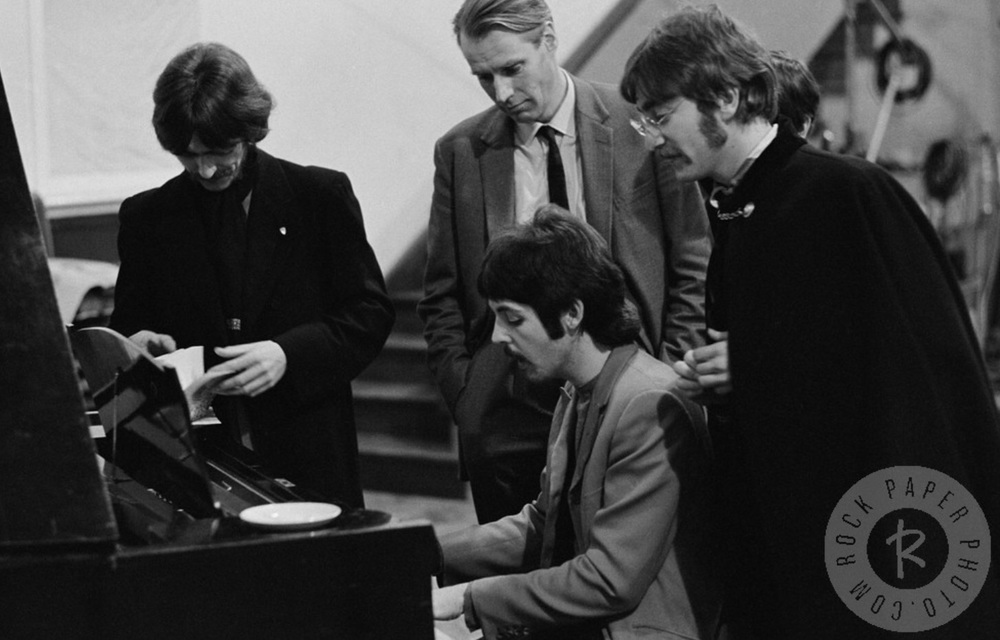 Paul McCartney working out something on the piano for Sgt. Pepper, 1967.