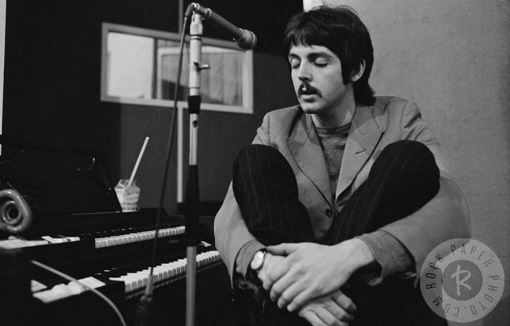 Paul McCartney recording vocals for Sgt. Pepper, 1967.