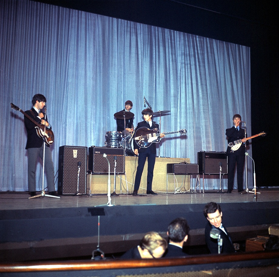 The Beatles at the Palladium in London, November 1963.