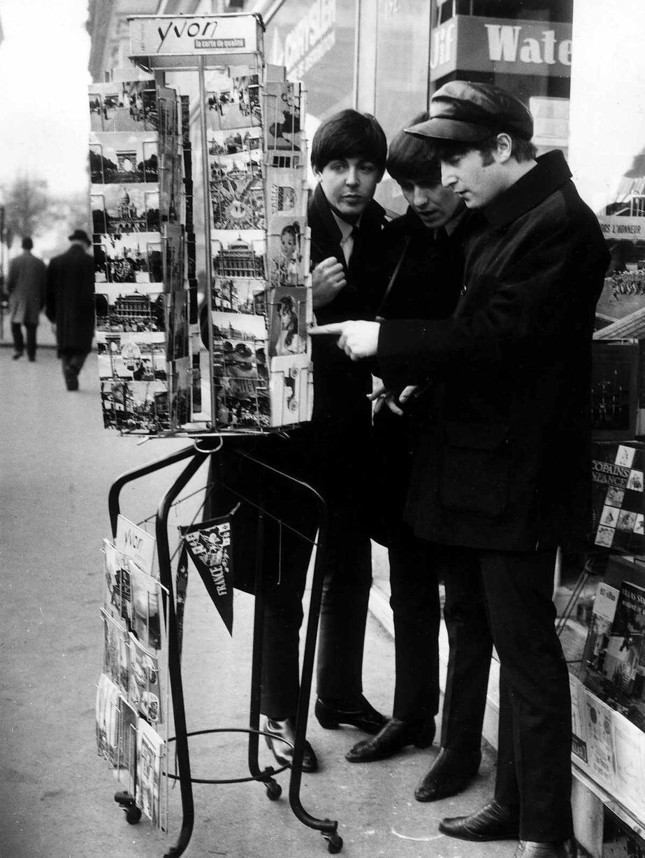 The Beatles postcard shopping in Paris, January 1964.