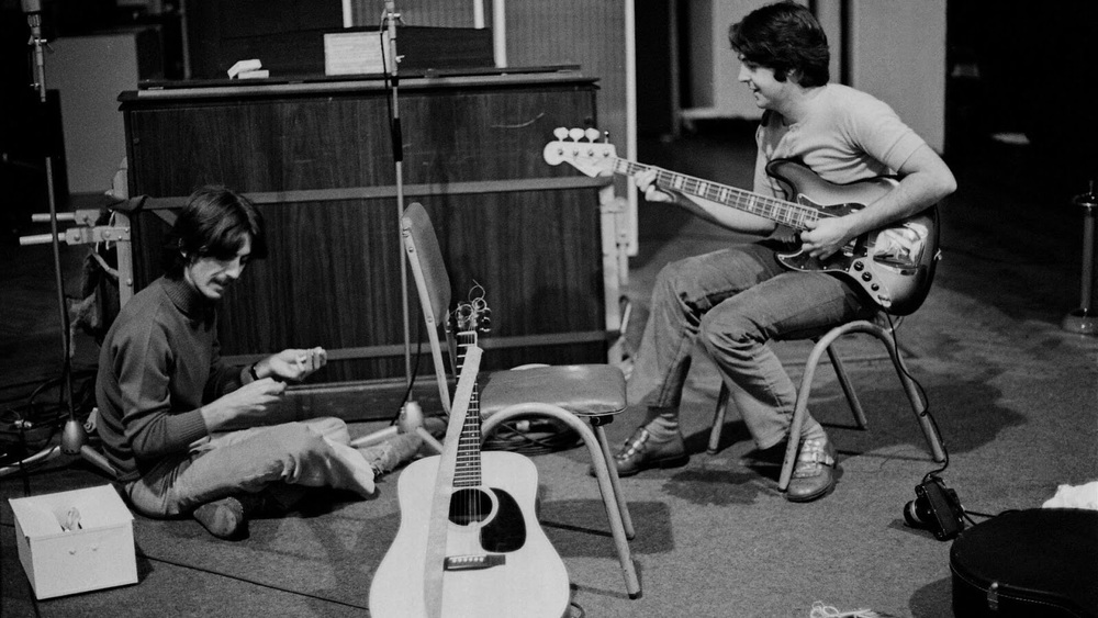 Paul McCartney and George Harrison working on the White Album, 1968.