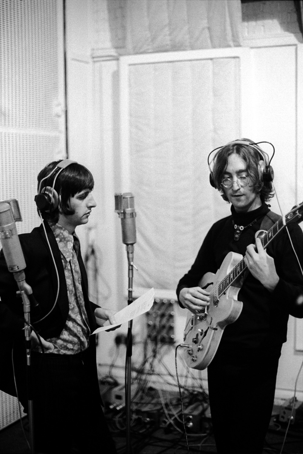 Ringo Starr and John Lennon recording Good Night for the White Album, 1968.