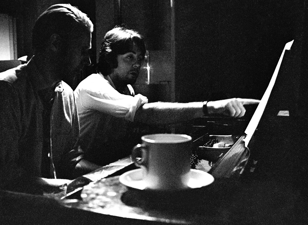 George Martin and Paul McCartney working on the White Album, 1968,