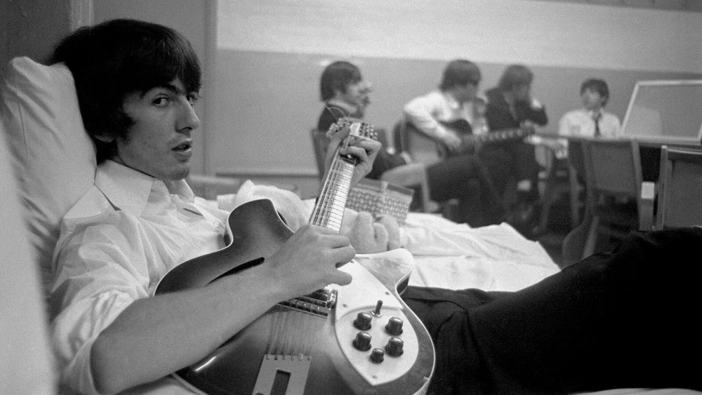 George Harrison with the Beatles, 1964.