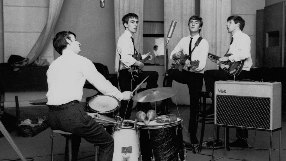 The Beatles at an early Abbey Road recording session, September 4th, 1962.