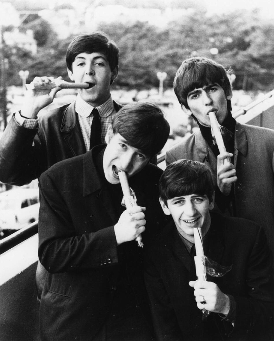The Beatles eating candy rock, 1964.