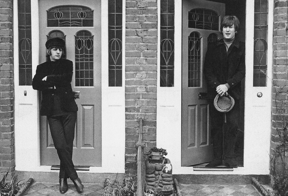 Let 'em in. Ringo and John   on the set of Help! 1965.