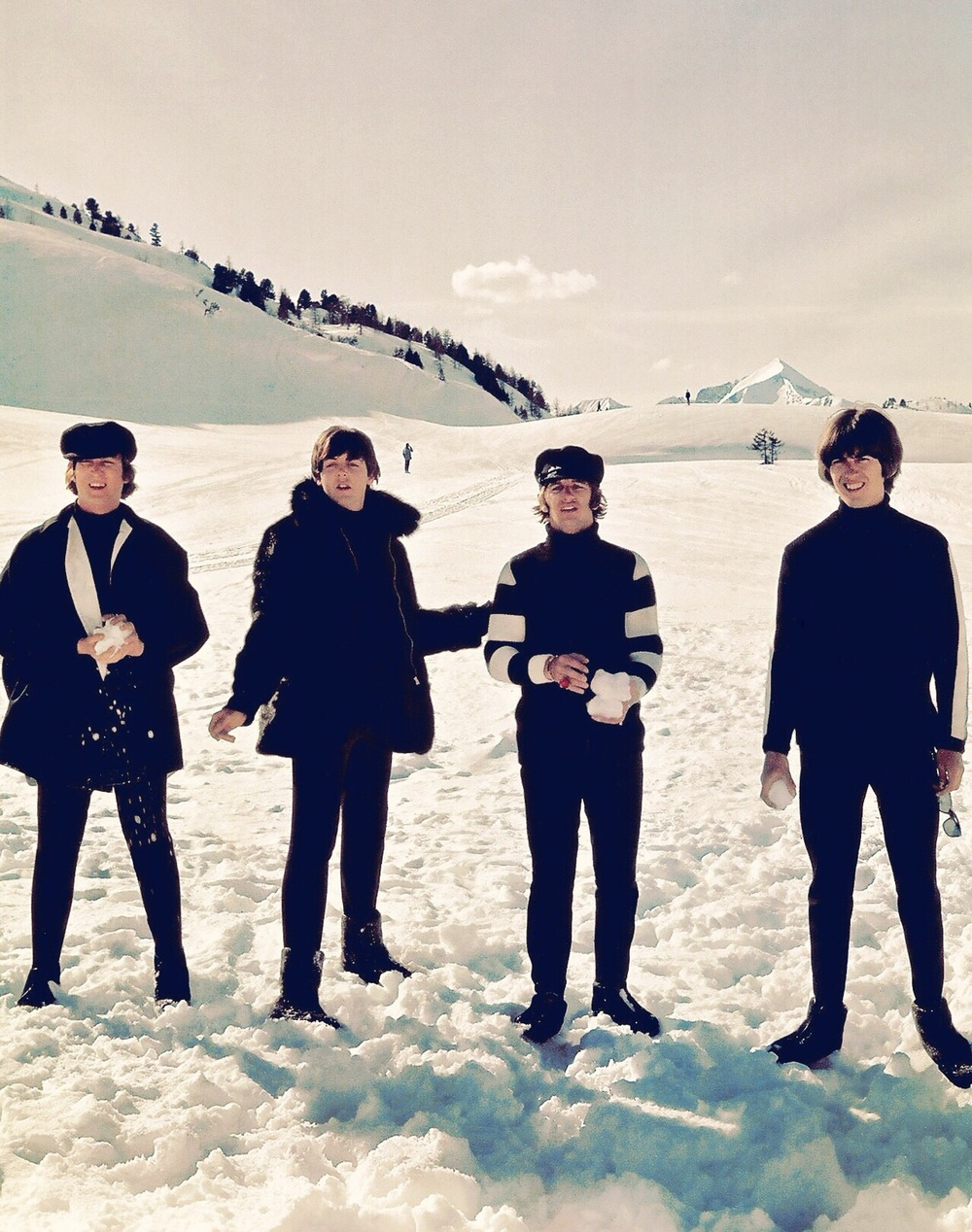 The Beatles filming Help! in the Austria, 1965.
