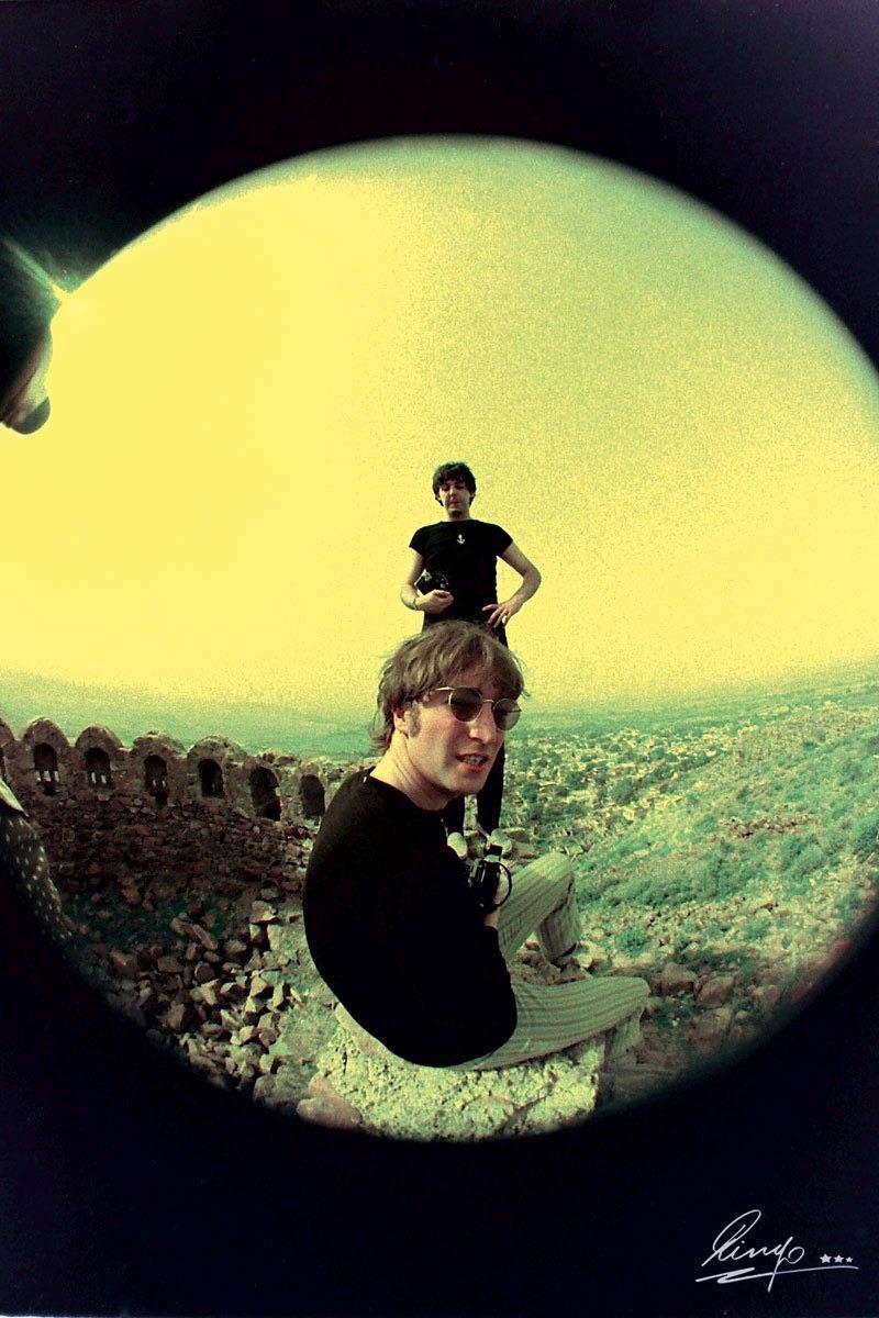 John Lennon and Paul McCartney in India 1966. Photo by Ringo Starr.