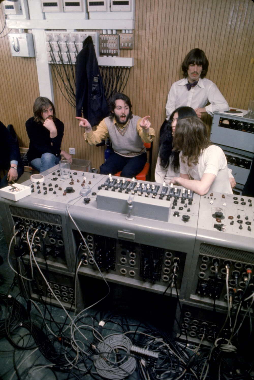 The Beatles at a Let It Be session with Yoko, 1969.