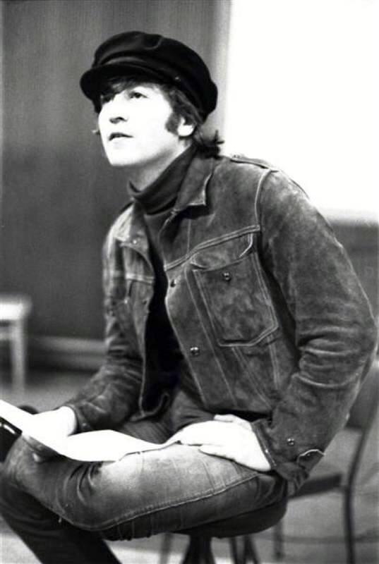 John Lennon in studio, 1965.