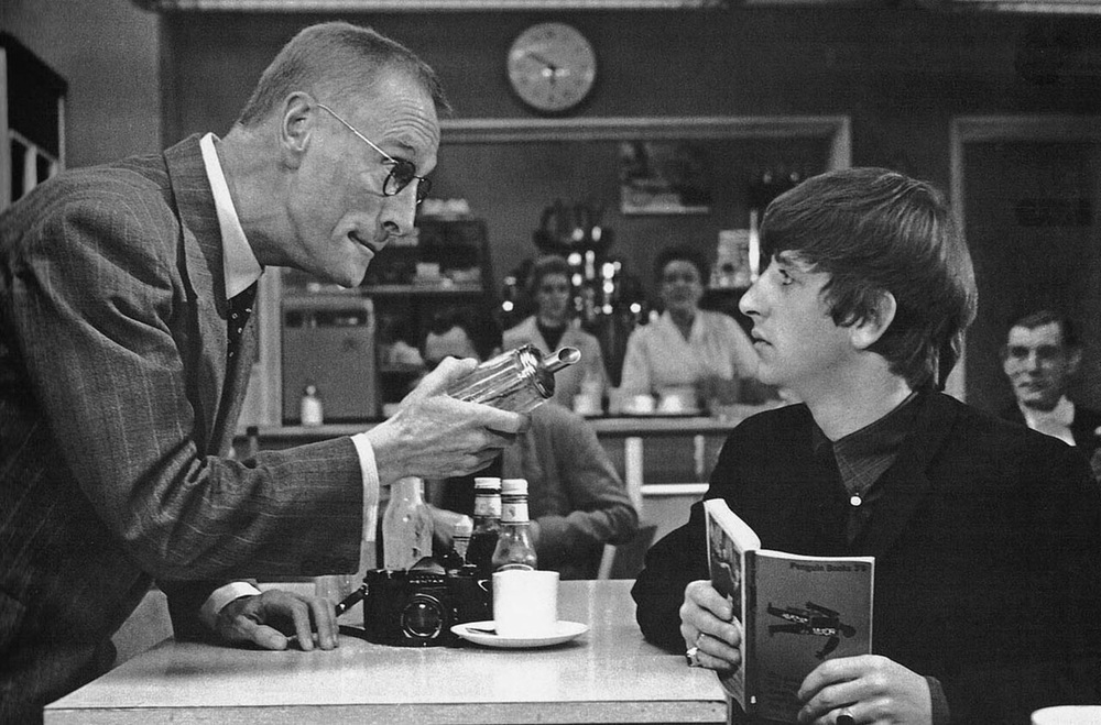 Wilfrid Brambell and Ringo Starr in A Hard Day's Night, 1964.