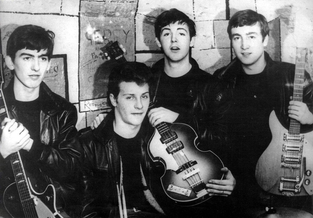 The Beatles at the cavern with Peter Best, circa 1961.
