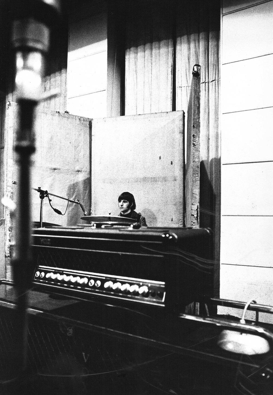 Ringo Starr recording Revolver, 1966.