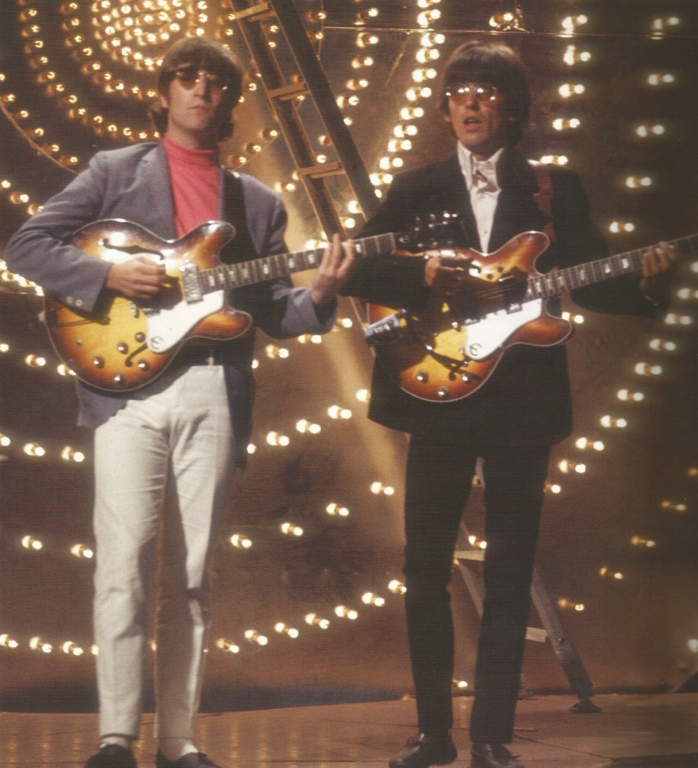 John lennon and George Harrison rehearsing on Top of the Pops, June 16th, 1966.