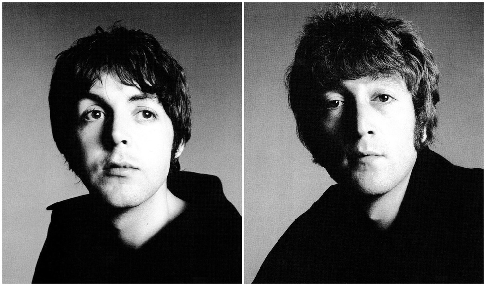 Paul McCartney and John Lennon photographed by  Richard Avedon, August 11th, 1967.