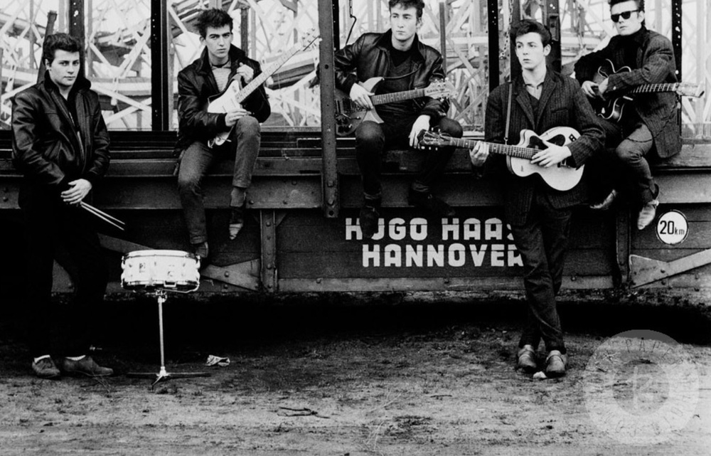 The Beatles in Hamburg with Pete Best and Stuart Sutcliffe, 1960. Photo by Astrid Kirchherr.