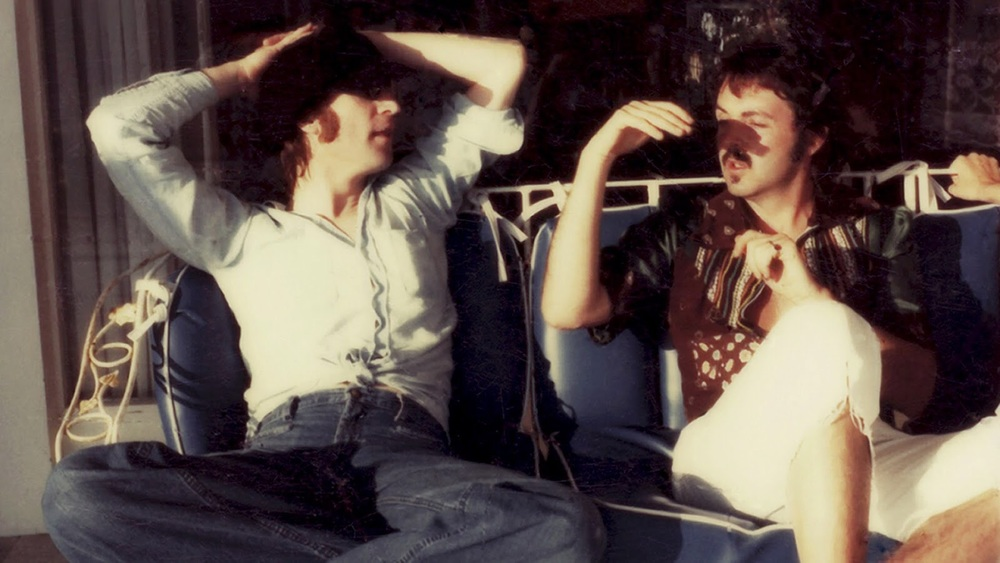 One of the last photos of John Lennon and Paul McCartney together; taken by May Pang in 1974.