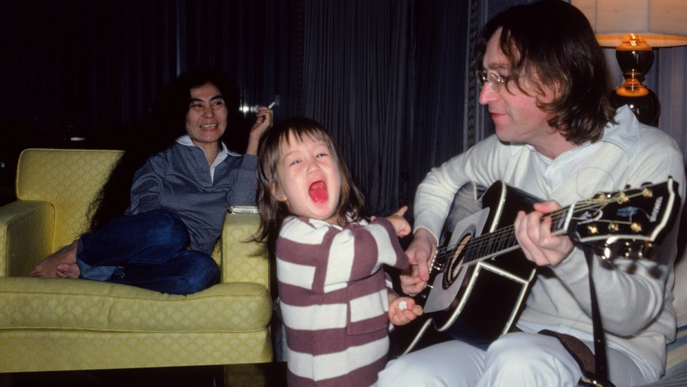 John Lennon and Yoko with Sean Lennon, 1977.
