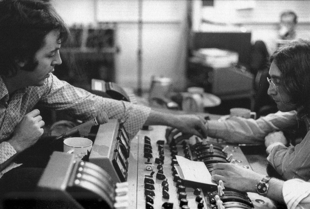 Paul McCartney and John Lennon working on the White Album,