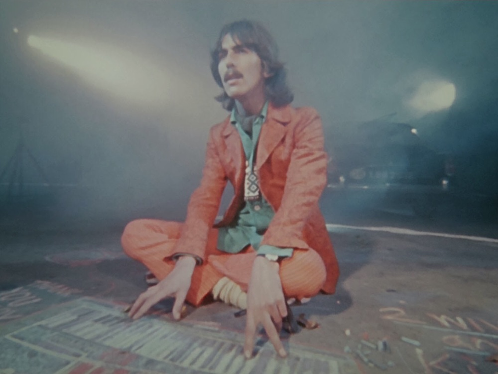 George Harrison filming a scene for Magical Mystery Tour, 1967.