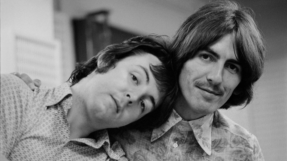 Paul McCartney and George Harrison at a White Album session, 1968.