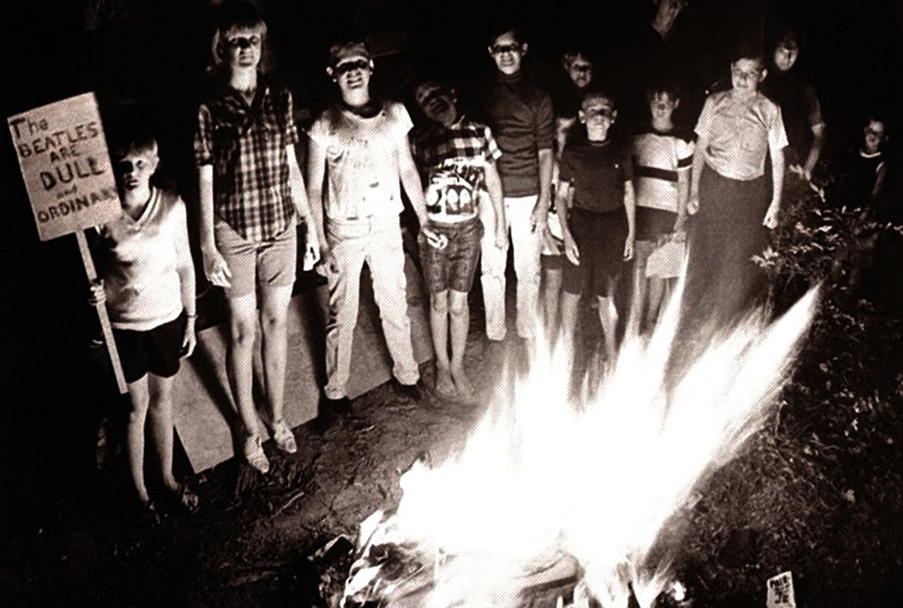 Public burning of Beatles' records in the American South, 1966.