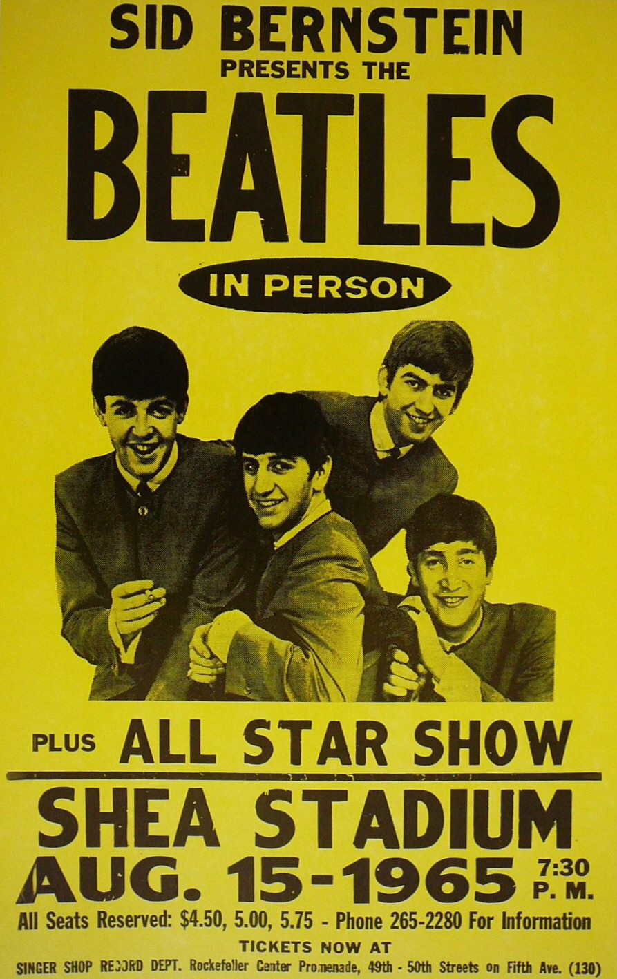 Poster for the Beatles' performance at Shea Stadium, August 15th 1965.