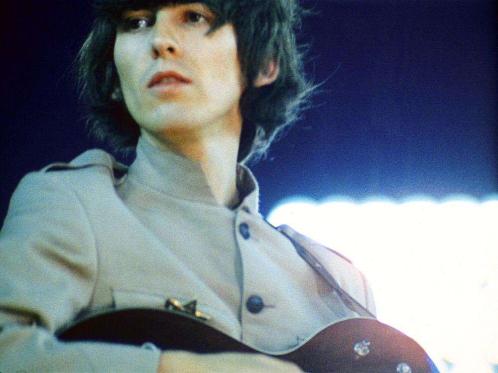 George Harrison at Shea Stadium, August 15th, 1965.