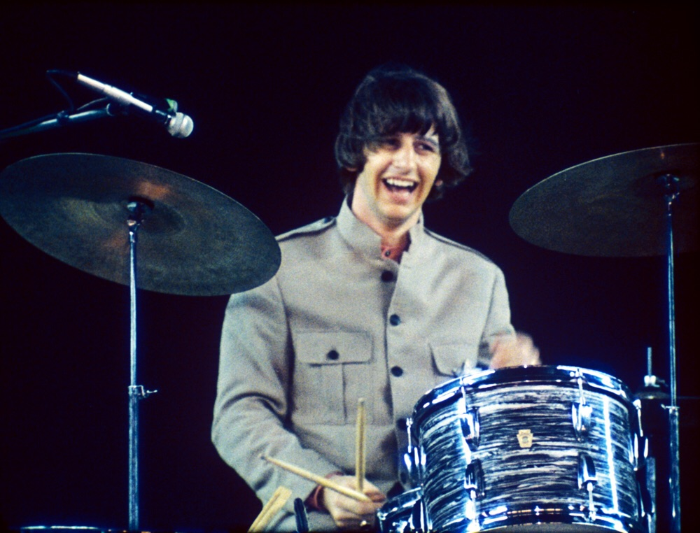 Ringo Starr at Shea Stadium, August 15th, 1965.