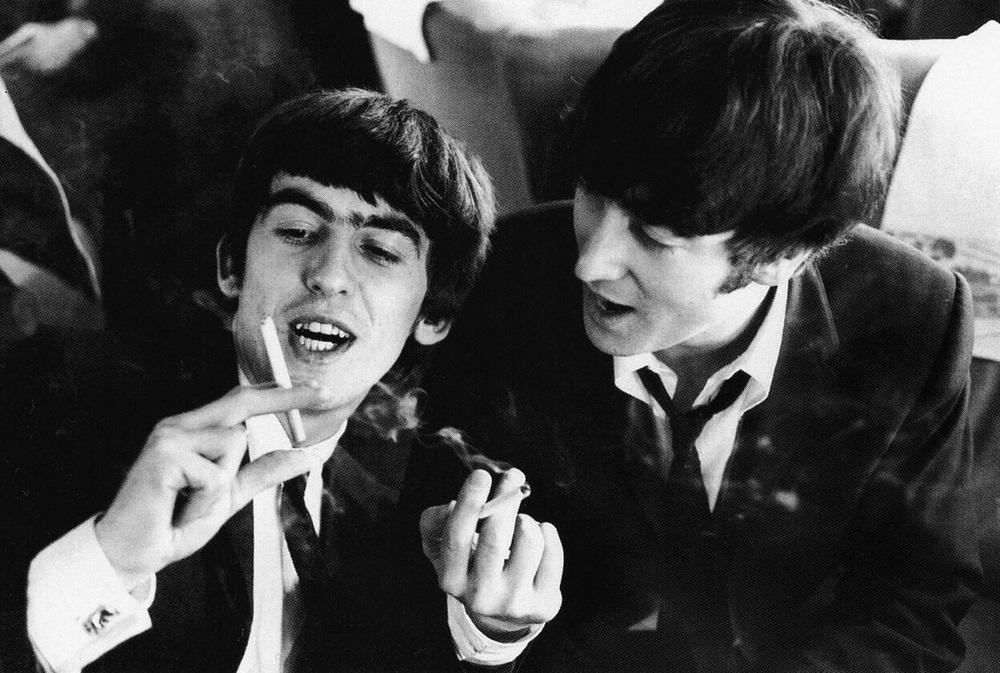 George Harrison and John Lennon, 1964.