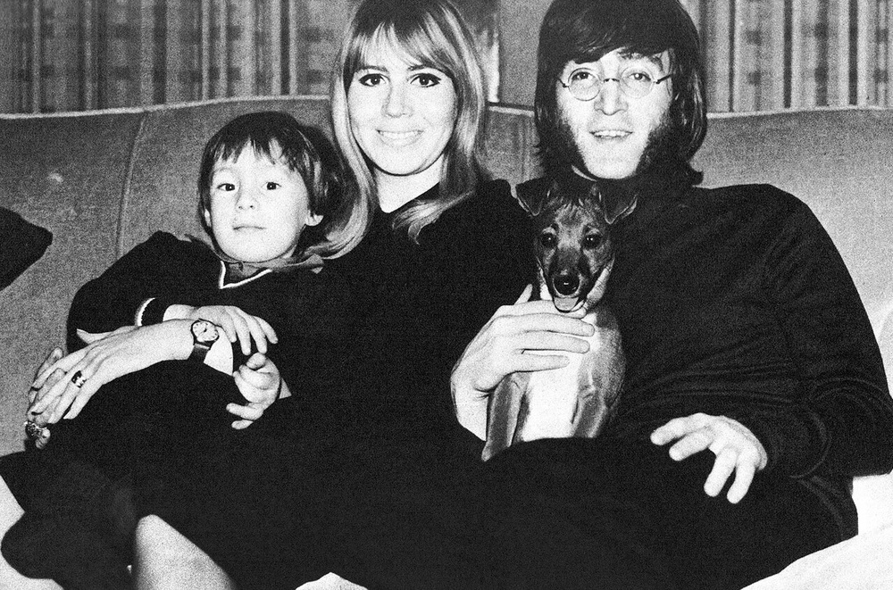 John Lennon with Cynthia and Julian, 1968.
