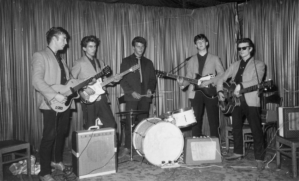 The Beatles in Hamburg at the Indra Club with Pete Best and Stuart Sutcliffe, August 17th 1960.