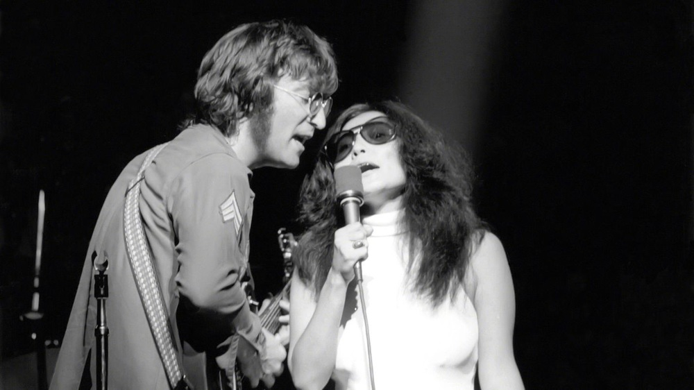 John Lennon and Yoko Ono  at Madison Square Garden,   August 30th, 1972