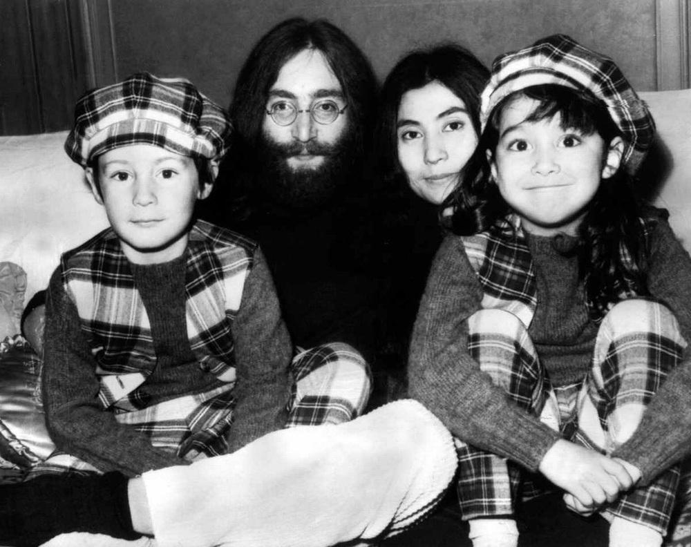 Julian Lennon, John Lennon, Yoko Ono and Kyoko Ono, 1969.