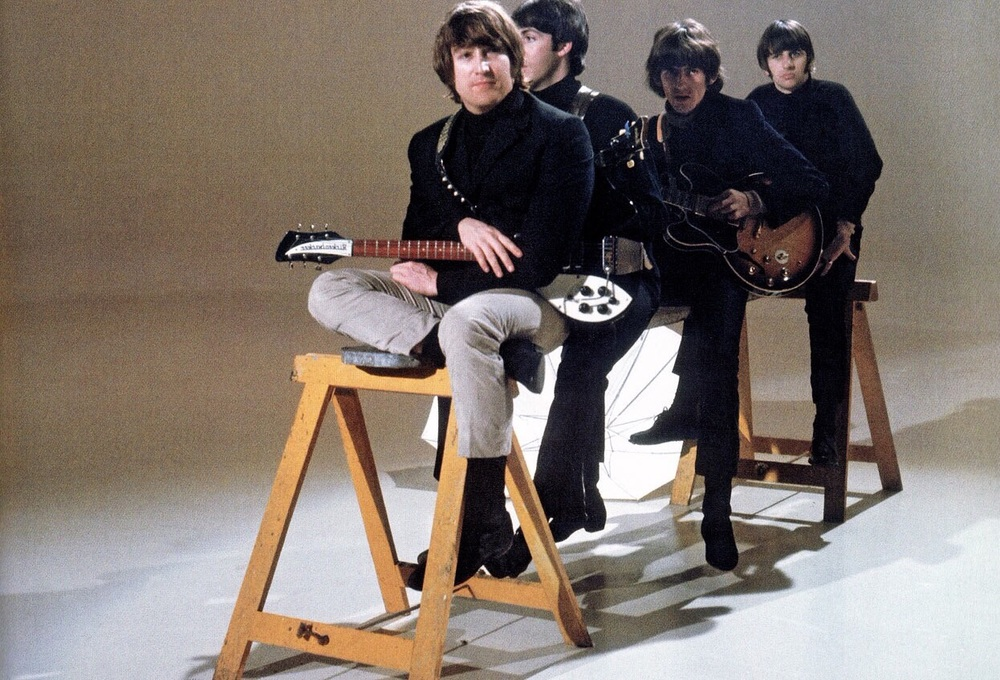 The Beatles filming a promo video for Day Tripper, 1965.