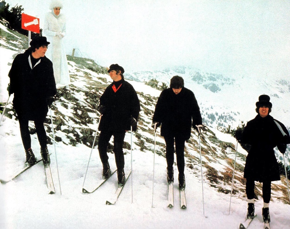 The Beatles filming Help! in Obertauern, Austria, March 1965.