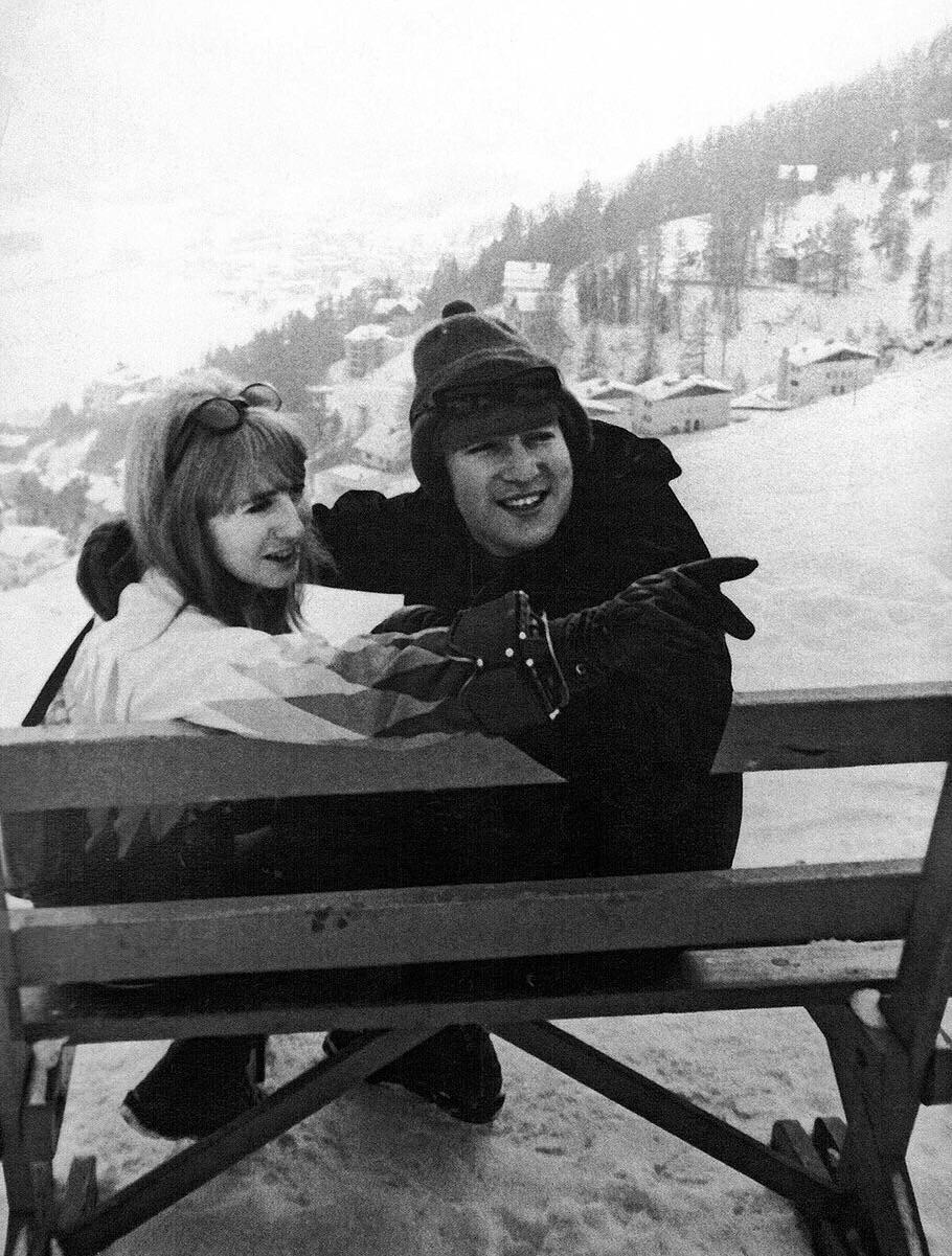John and Cynthia Lennon   in Obertauern, Austria, March 1965.