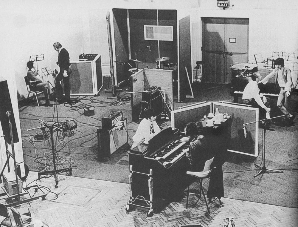 The Beatles recording Across the Universe at Abbey Road, February 1968.
