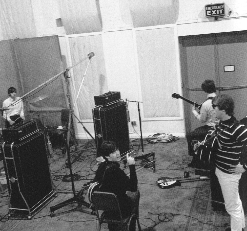 The Beatles recording at Abbey Road, Autumn 1964.